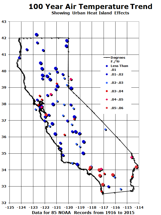 How not to measure temperature (or climate) #97 – California's warming air temperatures are population and site bias related