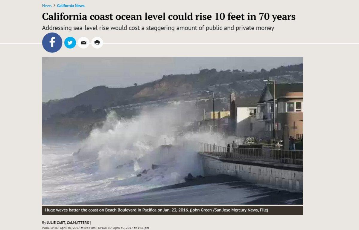 Dialing back the 10 foot hype – NOAA Tide Gauge Data shows no coastal sea level riseacceleration